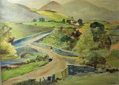 "Mildred Wilson ""The Trassay Bridge, Near Newcastle County Down"" Oil on Board, Signed, 43.5cm x 58cm"
