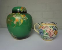 Poole Jug, Having a Coral underside, 12cm high, Also with a Carlton Ware Verte Royale Oviform Vase