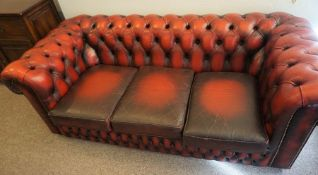 Chesterfield Ox Blood Leather Three Seater Sofa, 66cm high, 189cm wide, 94cm deep
