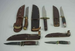 William Rodgers of Sheffield, Bowie Knife, Having a Wood grip with Brass mount, Blade 14cm long,