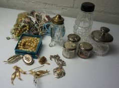 Mixed Lot of Silver Top Toilet Jars, Also with Costume Beads and Jewellery etc, (a lot)