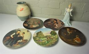 Five Picture Plates, Porcelain Figurine and a Vase, (5)