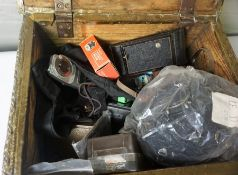 Quantity of Vintage Cameras and Accessories, Enclosed in a Brass Coal Box