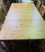 Modern PIne Dining Table, 80cm high, 204cm long, 84cm wide, With a set of Six Chairs, (7)