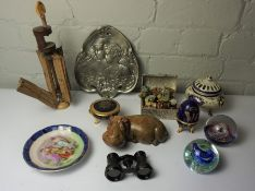 Box of Decorative Items, To include an Art Nouveau style Plaque, Polished Stone Figure of a Hippo,