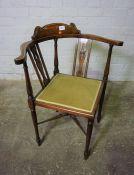 Two Similar Edwardian Style Mahogany Inlaid Corner Chairs, 79cm high, (2)