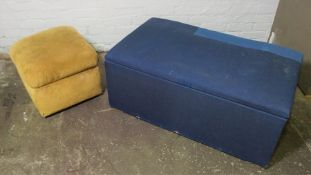 Two Fabric Covered Ottomans, Largest 43cm high, 110cm wide, (2)