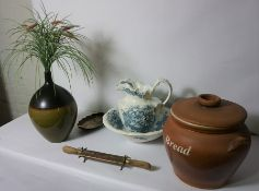 Mixed Lot of Sundry Pottery, To include a Ewer and Basin, Teracotta Bread Bin, Carlton Ware Dish and