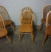 Two Pairs of Ercol Windsor style Chairs, 87cm, 95cm high, With a similar Pair of Chairs, (6)