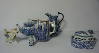 Box of Blue and White Pottery, To include Chinese Vases and Rington Jugs etc