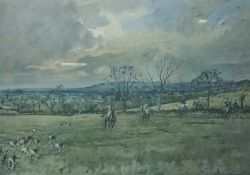 """Signed Hunting Print, """"The Blackmore Vale"""" Signed in Pencil, 33.5cm x 50cm, With a pair of Hunting"""