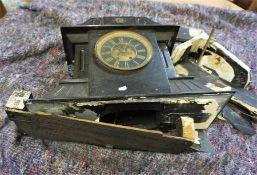 Victorian Black Slate Mantel Clock, (Damaged) 36cm high