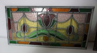 Two Art Nouveau Style Stained Leaded Glass Panels, 28cm high, 58.5cm wide, (2)
