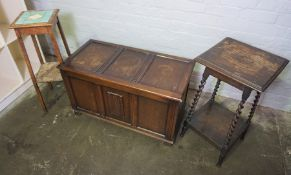 Oak Blanket Box, With a Plant Stand and Occasional Table, (3)