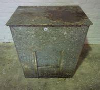 Metal Coal Bin, 90cm high, 81cm wide, 58cm deep, With a Metal Grate, (2)