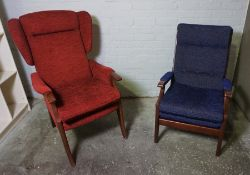 Two Fireside Armchairs, 93cm, 112cm high, (2)