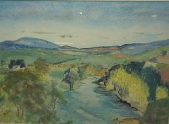 """Katharin Ann Prentice """"River Tweed at Rutherford"""" Watercolour, Signed, 33.5cm x 48cm"""