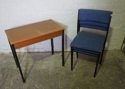 Three Office Stacking Chairs, With a Table, (4)