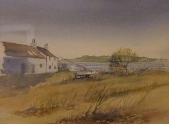 "Derek Cook ""River Scene with House and Boat"" Watercolour, 24.5cm x 33cm"