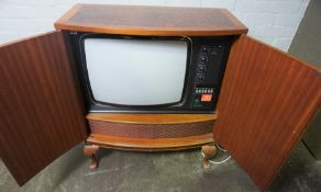 Vintage Dynatron TV, Enclosed in a Fitted Walnut Cabinet, 87cm high, 74cm wide, 60cm deep
