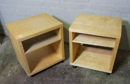 Pair of Modern Open Bedside Cabinets, 58cm high, 42cm wide, (2)