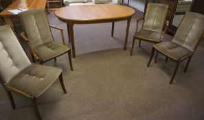 Retro Teak Dining Table, With Four Chairs, Table 77cm high, 153cm long, 94cm wide, (5)