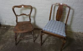 Two Vintage Fabric Upholstered Chairs, With Four Assorted Wooden Chairs, (6)