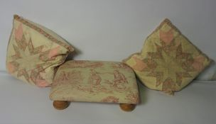 Box of Fabric Throws and Cushions, With a Footstool