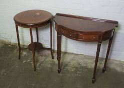 Mahogany Occasional Table, 72cm high, 51cm wide, With a Reproduction Side Table, (2)