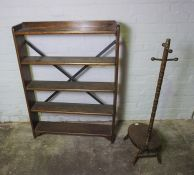 Oak Open Bookcase, 114cm high, 84cm wide, 18cm deep, Also with a Small Stand, (2)