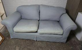 Blue Upholstered Sofa, 80cm high, 186cm wide
