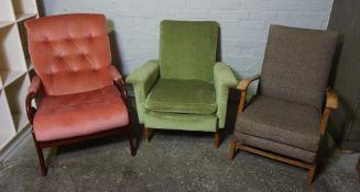 Three Fireside Armchairs, 88cm, 95cm high, (3)