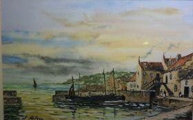 "Tom Higgins (Scottish) ""Harbour of Refuge"" Watercolour, 31cm x 48.5cm"