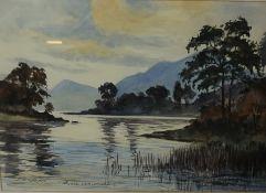 """R. W. Webster """"Luss Loch Lomond"""" Watercolour, 35cm x 49cm"""