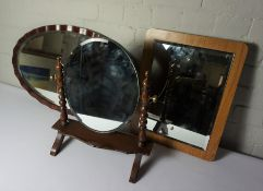 Four Assorted Wall Mirrors, With a Dressing Mirror, (5)