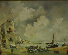 """D.Piper """"Continental Scene"""" Oil on Panel, 60cm x 74.5cm"""