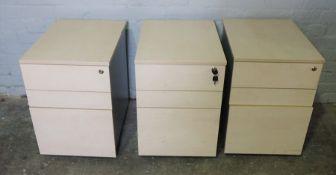Three Similar Office Cabinets, 61cm high, 43cm wide, 60cm deep, (3)