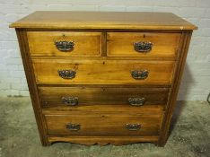 Stained Wood Chest of Drawers, 100cm high, 107cm wide, 46cm deep