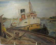 """Constance M Hamilton """"Boat at Dock"""" Signed Oil on Board, 35.5cm x 46cm, With two Mixed Medias by"""