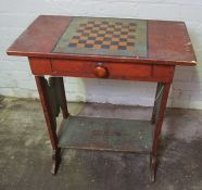 Victorian Stained Wood Games / Occasional Table, 75cm high, 70cm wide, 37cm deep