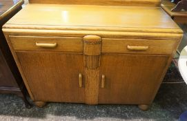 Art Deco Style Oak Dining Room Suite, Comprising of Sideboard, Dining Table and Four Chairs, (6)