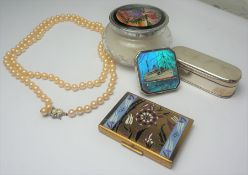 Two Compacts, One marked Atlantis, With a Powder Jar, Faux Pearls and Trinket Box, (5)