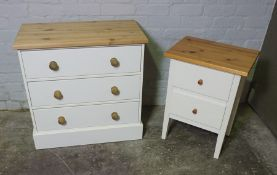 Modern Chest of Drawers, 75cm high, 75cm wide, 40cm deep, With a similar Bedside Chest, (2)