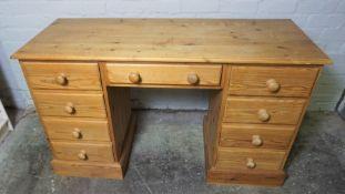 Pine Kneehole Desk, 78cm high, 136cm wide, 57cm deep