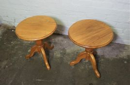 Pair of Walnut Wine Tables, 48cm high, 44cm wide, (2)