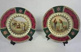 Pair of Carlsbad Decor for Vienna Porcelain Plates, 28cm diameter, (2)