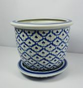 Chinese Blue and White Pottery Jardiniere on Stand, 20th century, 24cm high, 29cm wide