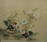 """Chinese School circa late 19th / early 20th century, """"Cockerels in Foliage"""" Watercolour on Silk,"""