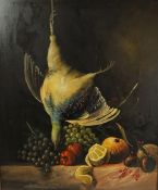 """Continental School """"Stll Life of Game Bird with Fruit"""" Oil on Panel, Signed indistinctly, 58cm x"""