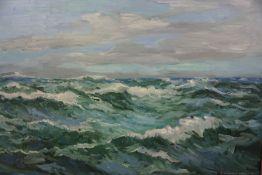 "C McDonald Livingston (Scottish) ""Waves Crashing"" Oil on Board, Signed, 46cm x 70.5cm, Label to"